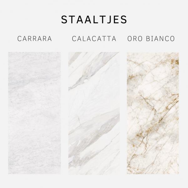 Staaltjes Carrara, Calacatta, Oro Bianco