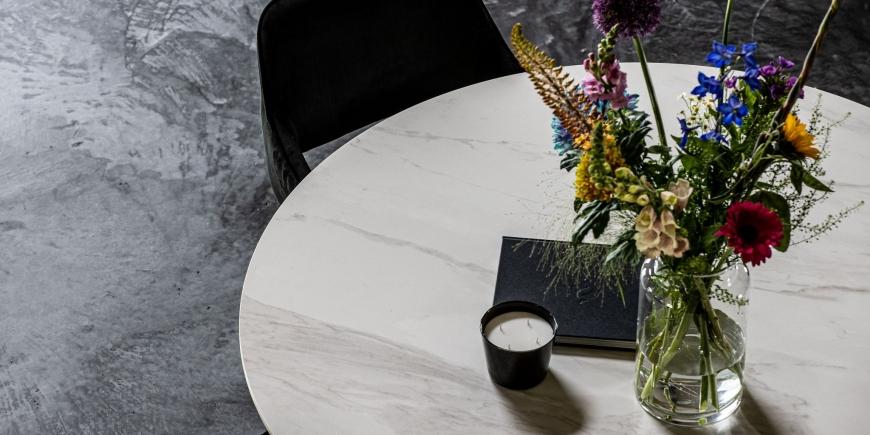 Keramische tafels Calacatta Ella Rond keramiek