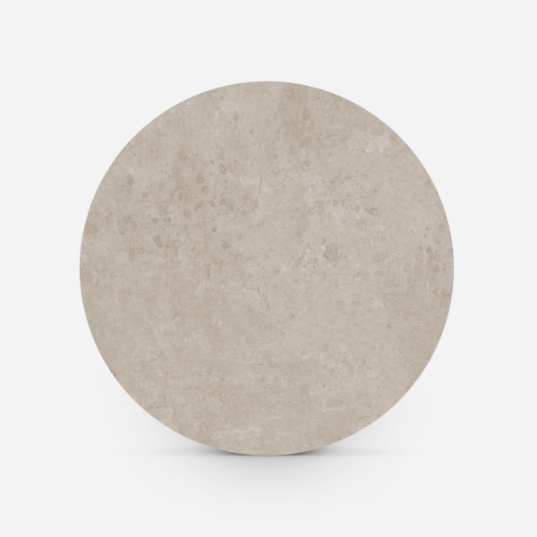 Bovenaanzicht ronde tafel betonlook taupe