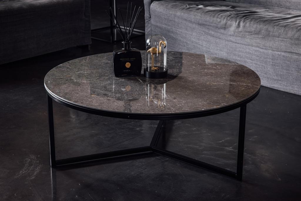KeramischeTafels julia grigio rond salontafel
